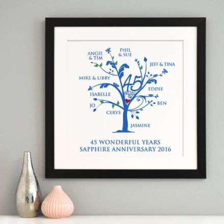 Personalised Sapphire Anniversary Family Tree Art
